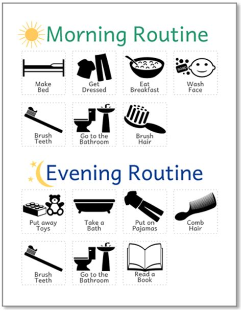 printable toddler routine chart printable routine chart for kids