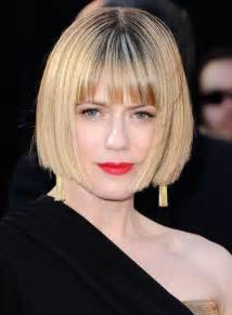 medium blunt hairstyles with bangs short sleek bob haircut with blunt bangs classic bob