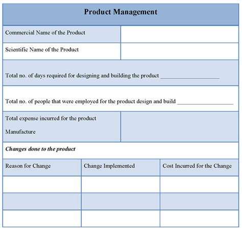 template for product management exle of product