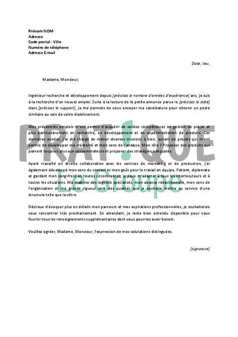 lettre de motivation pour un emploi d ing 233 nieur recherche et d 233 veloppement pratique fr