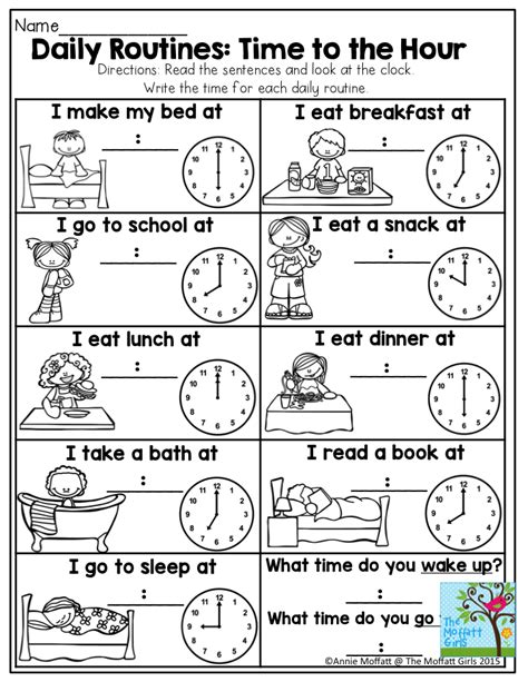 The Story Of An Hour Worksheet by Daily Routines Time To The Hour This Is A Great