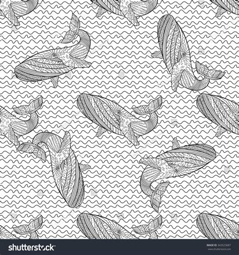 zentangle tile template oceanic animal zentangle seamless pattern stock