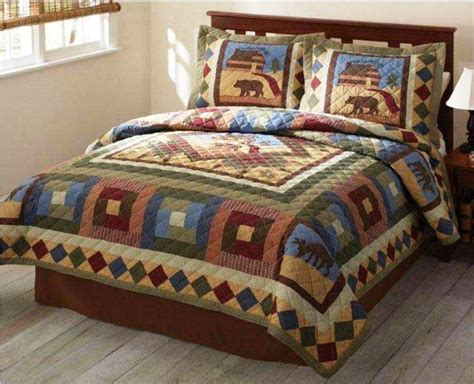 lodge comforter hunting cabin full queen quilt timber bear moose lodge