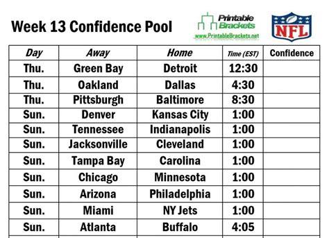 printable nfl schedule week 13 nfl confidence pool week 13 football confidence pool