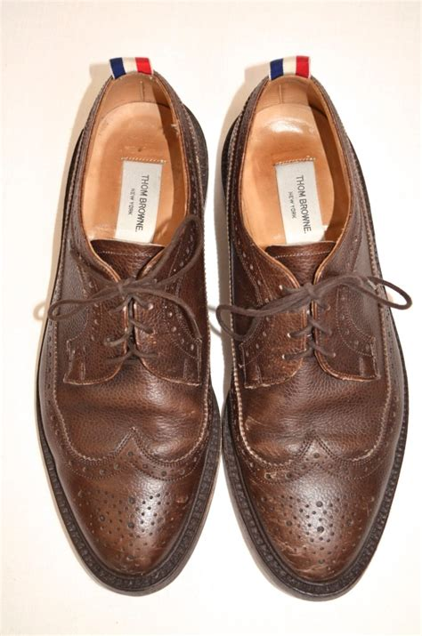 thom browne mens brown leather wingtip striped pull tab brogue dress shoe 11 5 ebay