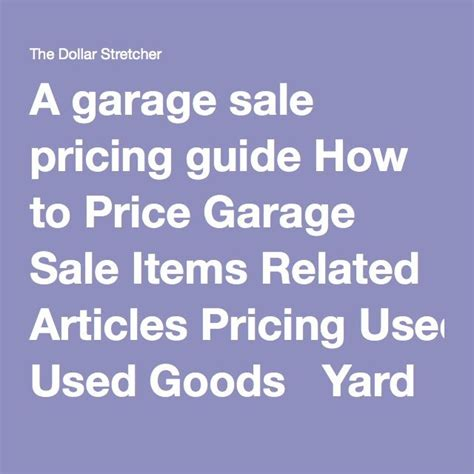How To Price Garage Sale Items by Best 25 Garage Sale Pricing Ideas On Rummage