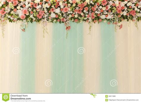 Wedding Background Wall by Beautiful Flowers And Wave Curtain Wall Background
