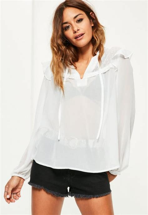 white lace trim ruffle shoulder sheer blouse missguided