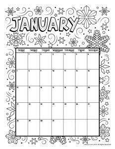 january calendar coloring pages printable coloring calendar for 2018 woo jr kids