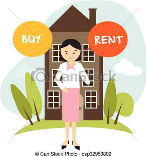 buy house or rent apartment vector clipart of buy or rent house home apartment woman decide vector csp32953802