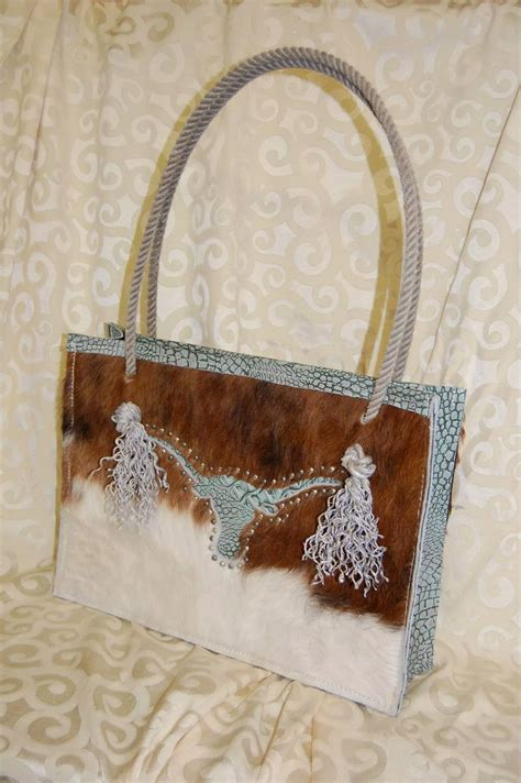 Hair On Cowhide Purse crafted rancher s custom hair on cowhide purse with rope handles by bar c saddlery