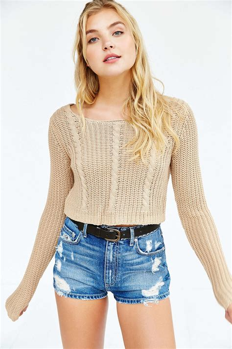 cropped cable knit sweater unif x uo cropped cable knit sweater in brown lyst