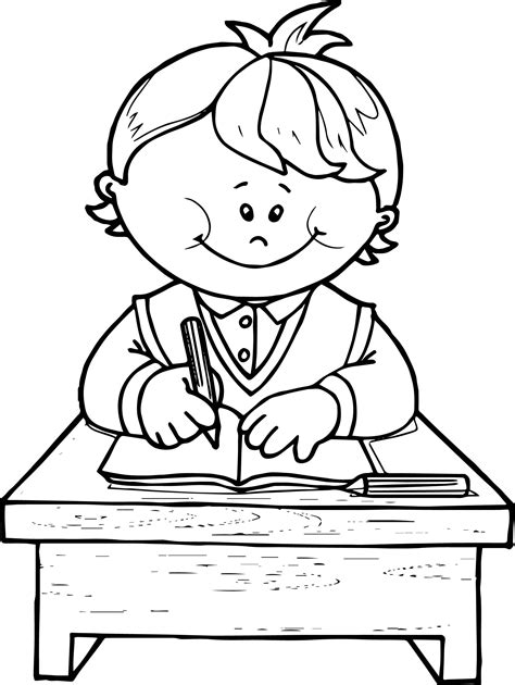 boy writing coloring page school boy write coloring page wecoloringpage