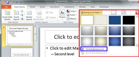 Change Background Styles In The Slide Master In Powerpoint 2010 For Windows Powerpoint 2010 Edit Master Slide