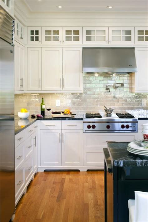 White Kitchen With Backsplash Iridescent Backsplash Transitional Kitchen Benjamin