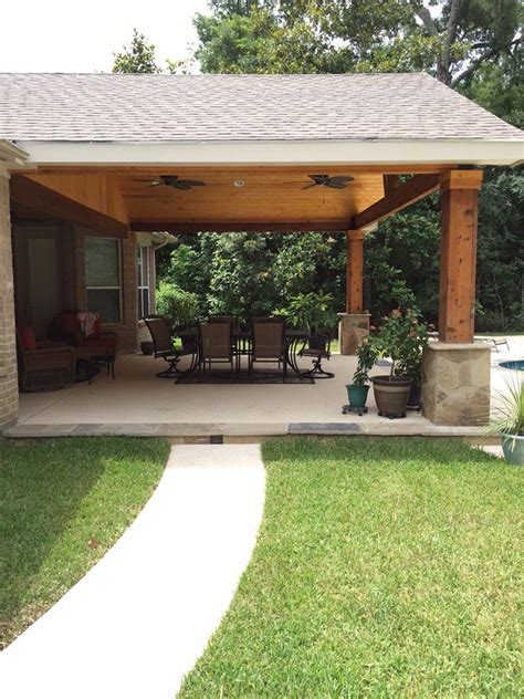 Backyard Paradise Magnolia Tx United States Gable Covered Patio Roof Designs