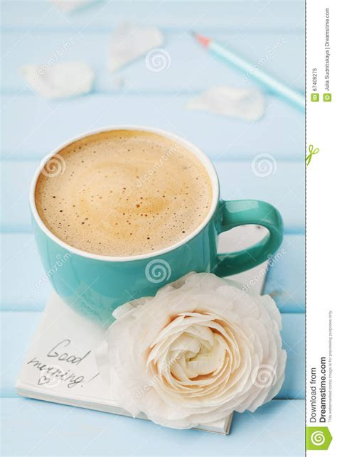 Coffee Cup With Spring Flower And Notes Good Morning On Blue Rustic Background, Breakfast Stock