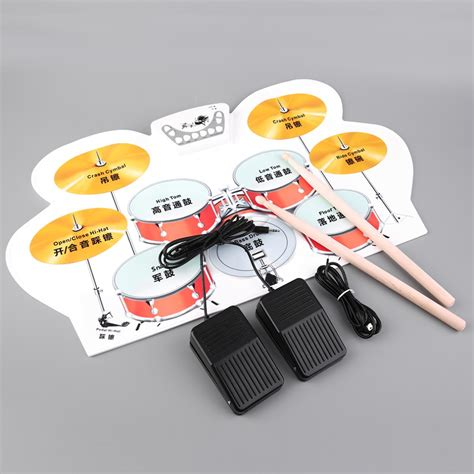 Usb Roll Up Drum Kit sews 2016 new silicone electronic usb roll up drum kit with drumsticks foot pedal musical free