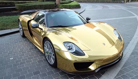 gold porsche 918 gold chrome porsche 918 spyder weissach gtspirit