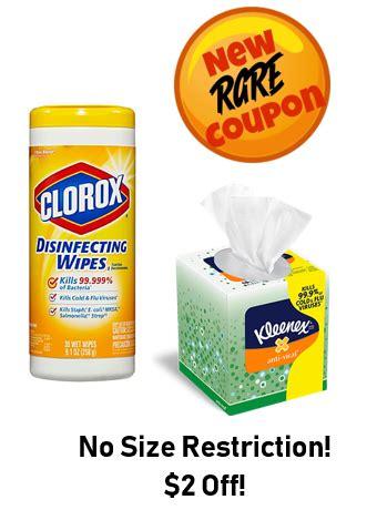 rare   clorox wipes kleenex coupon