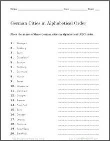 Cities In Germany by Printable Abc Order Worksheets