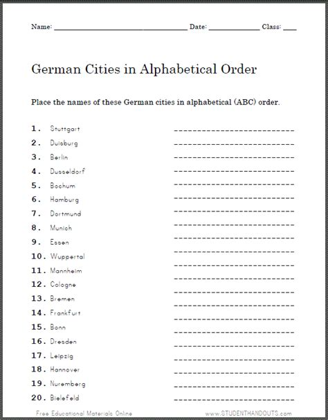 cities in germany free printable worksheets for alphabetical order