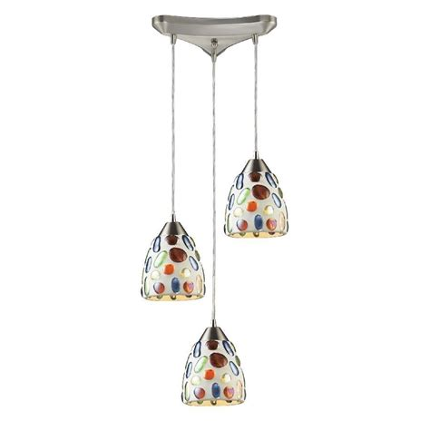 Coloured Pendant Lights New 3 Light Pendant Lighting Fixture Satin Nickel Multi Colored Glass Elk Ebay