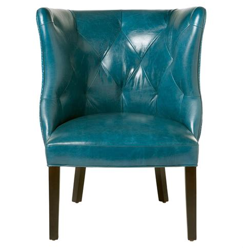 Teal Blue Accent Chair Cisco Brothers Goodman Regency Feather Teal Blue Leather Accent Chair Kathy Kuo
