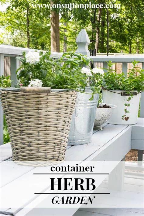 container herb garden found on onsuttonplace