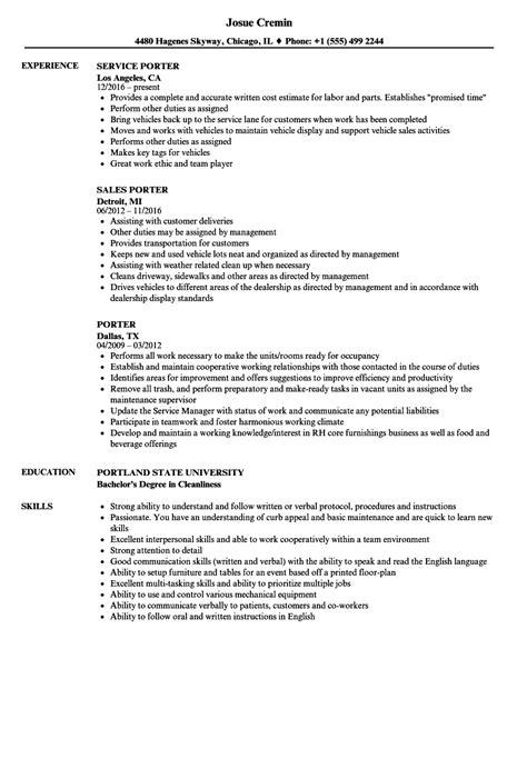 Porter Resume by Porter Resume Sles Velvet