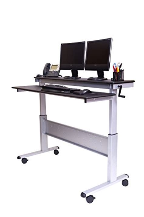 heavy duty standing desk 60 quot crank adjustable sit to stand up desk with heavy duty