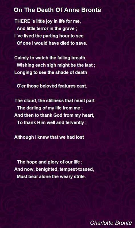 death  anne bronte poem  charlotte bronte