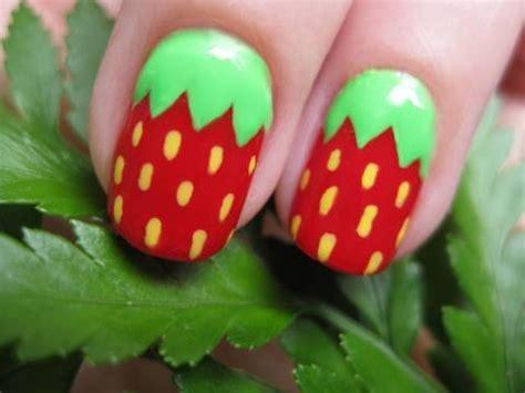 tutorial nail art strawberry cute strawberry nail art youtube