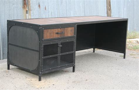 wood and steel desk combine 9 industrial furniture industrial desk