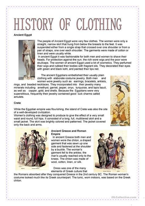 fashion history of clothing worksheet free esl