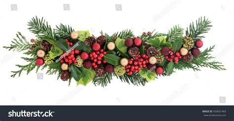 christmas decorations with berries decoration gold bauble decorations stock photo 450651469