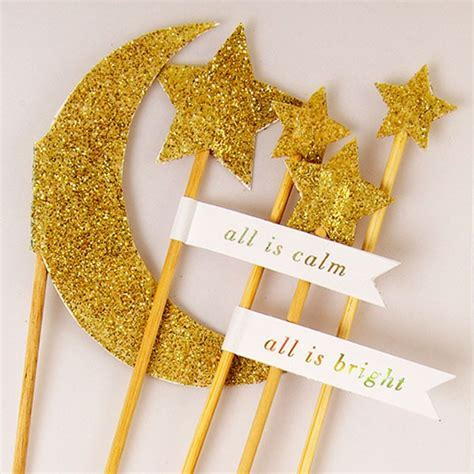 5 Gold Glitter Moon & Star Cake Toppers   Pipii