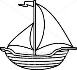 black and white line art sailboat clipart nautical