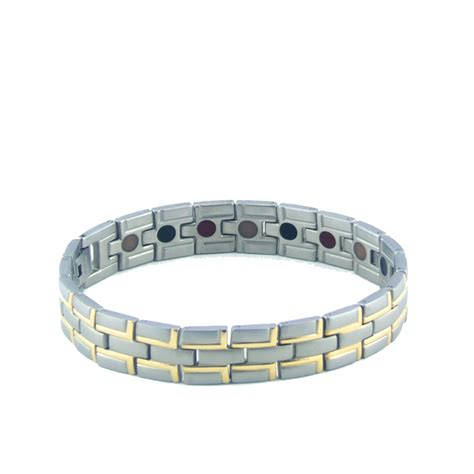 purlife titanium negative ion bracelet silver and gold