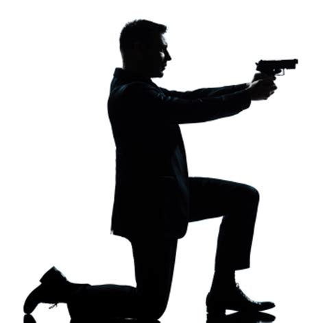 silhouette man kneeling aiming gun watermark learning blog