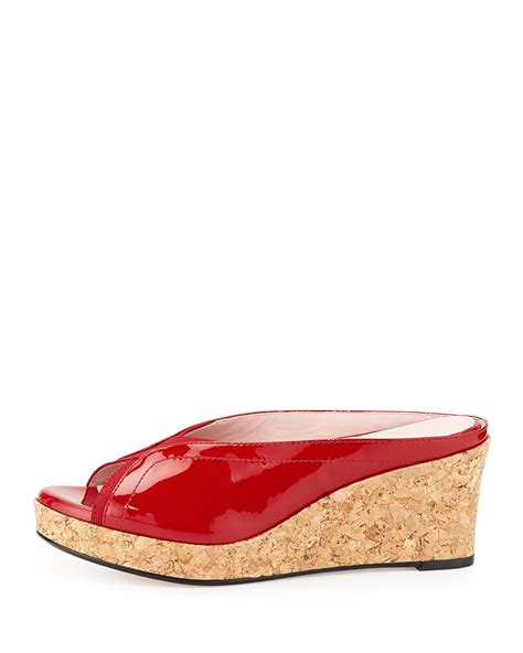 Mossimo Parry Patent Cork Slide Wedges by Selinda Cork Wedge Leather Slide Sandal In