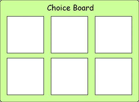 Choice Board Template choice board 6 options