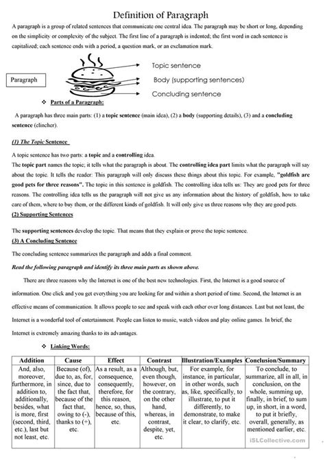 how to write a paragraph worksheet free esl printable