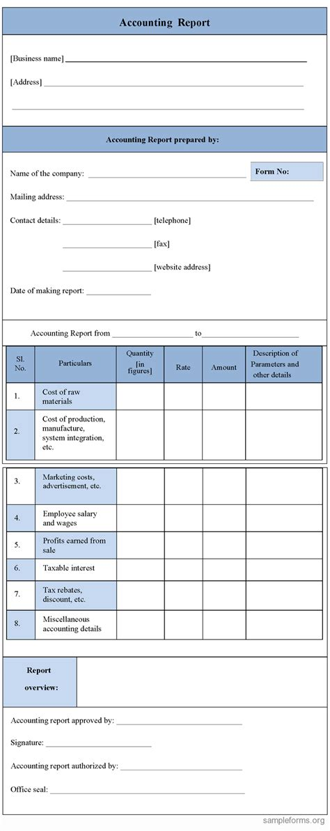 accounting form accounting report form sle forms