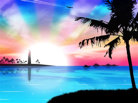 wallpapers beach colorful tropical dreams by kandiart on deviantart
