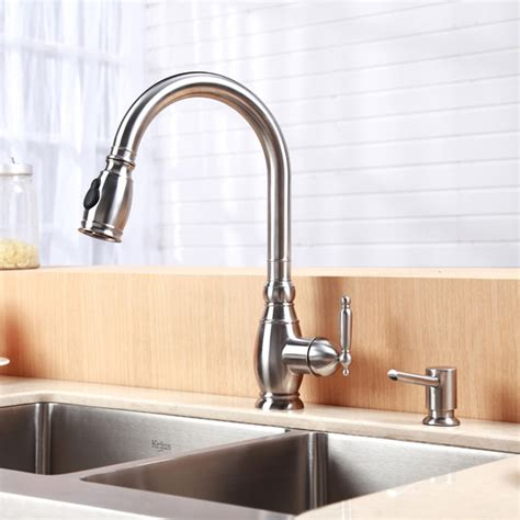 kitchen sink with faucet kraus single lever stainless steel pull out kitchen faucet