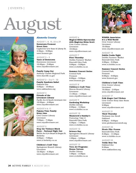 Bay Area Event Calendar August 2014 Sf Bay Area Events Calendar Active Family