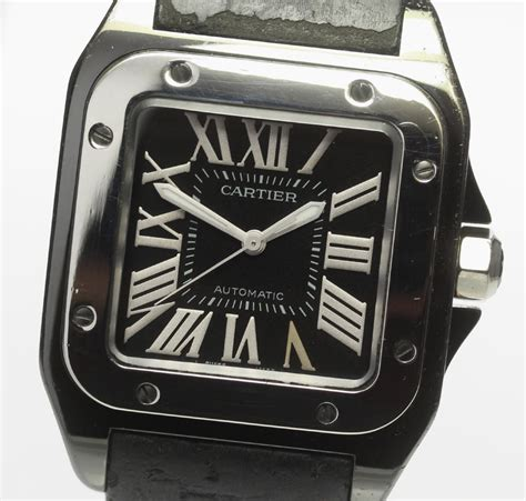 closer   perfect product cartier santos  mm  black clockface  winding
