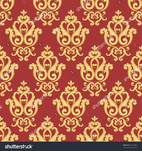 pattern red and gold seamless damask pattern gold red texture stock vector