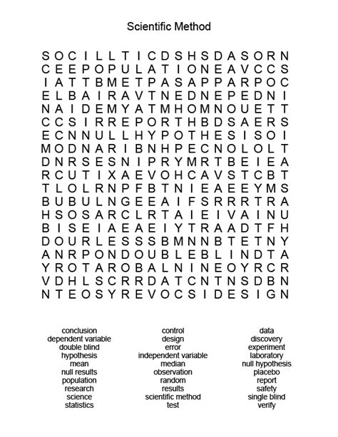 free printable word searches you can make scientific method word search